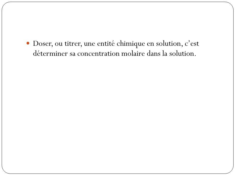  Doser, ou titrer, une entité chimique en solution, c'est déterminer sa concentration molaire dans la solution.