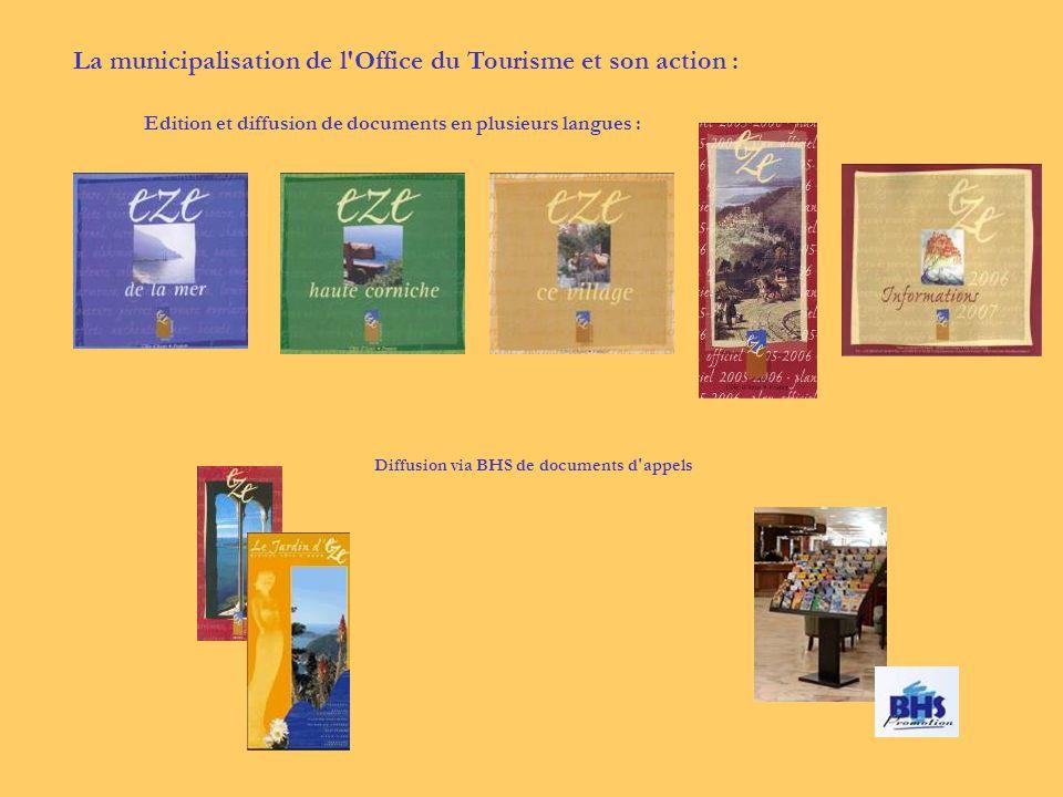 Edition et diffusion de documents en plusieurs langues : Diffusion via BHS de documents d appels La municipalisation de l Office du Tourisme et son action :