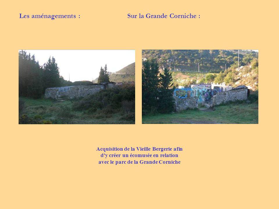 Acquisition de la Vieille Bergerie afin d'y créer un écomusée en relation avec le parc de la Grande Corniche Sur la Grande Corniche :Les aménagements