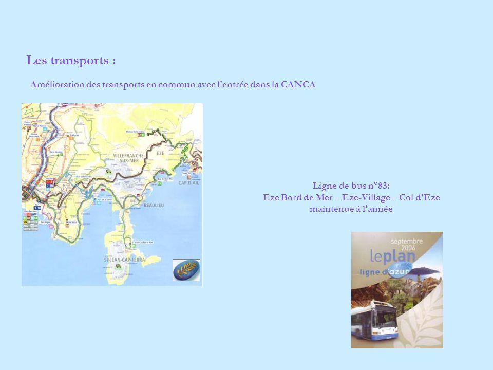 Amélioration des transports en commun avec l entrée dans la CANCA Ligne de bus n°83: Eze Bord de Mer – Eze-Village – Col d Eze maintenue à l année Les transports :