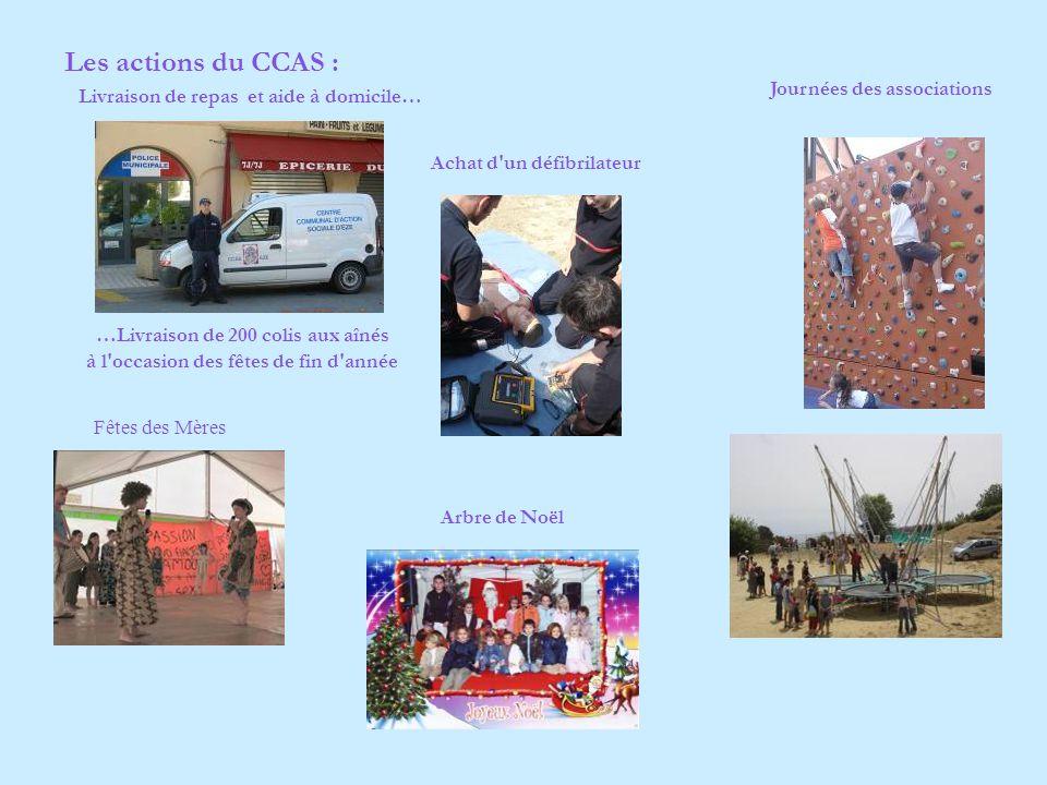 Les actions du CCAS : Livraison de repas et aide à domicile… …Livraison de 200 colis aux aînés à l occasion des fêtes de fin d année Fêtes des Mères Journées des associations Arbre de Noël Achat d un défibrilateur