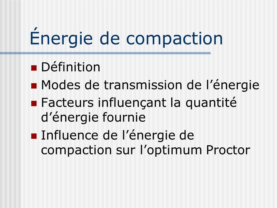Énergie de compaction  Définition  Modes de transmission de l'énergie  Facteurs influençant la quantité d'énergie fournie  Influence de l'énergie
