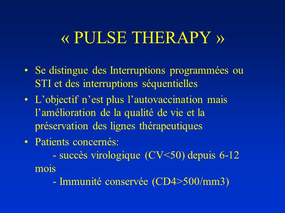 « PULSE THERAPY » •Se distingue des Interruptions programmées ou STI et des interruptions séquentielles •L'objectif n'est plus l'autovaccination mais l'amélioration de la qualité de vie et la préservation des lignes thérapeutiques •Patients concernés: - succès virologique (CV 500/mm3)