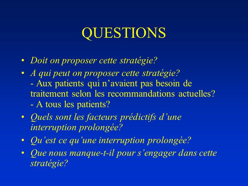 QUESTIONS •Doit on proposer cette stratégie. •A qui peut on proposer cette stratégie.