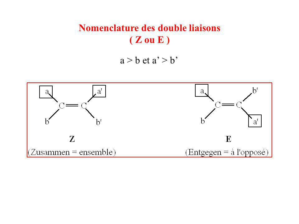Nomenclature des double liaisons ( Z ou E ) a > b et a' > b'