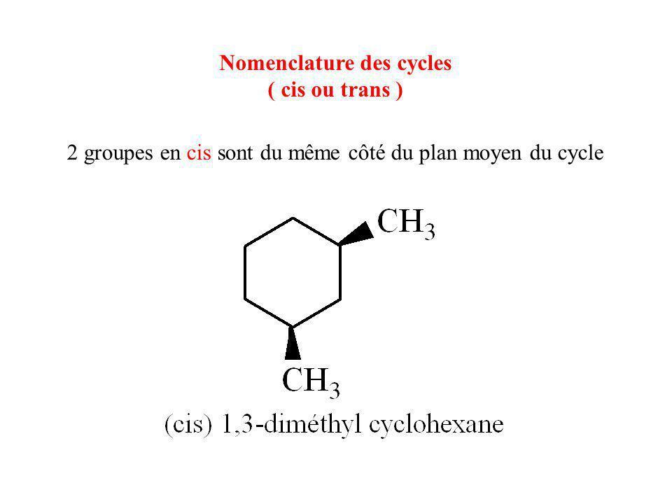 Nomenclature des cycles ( cis ou trans ) 2 groupes en cis sont du même côté du plan moyen du cycle