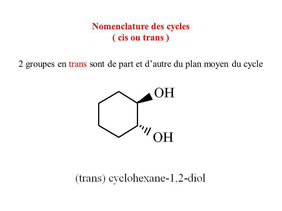 Nomenclature des cycles ( cis ou trans ) 2 groupes en trans sont de part et d'autre du plan moyen du cycle