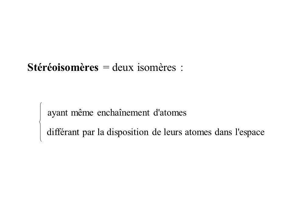 Stéréoisomères = deux isomères : ayant même enchaînement d'atomes différant par la disposition de leurs atomes dans l'espace