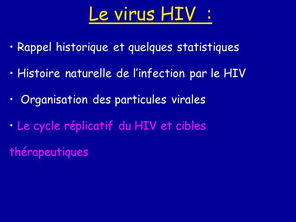 Le virus HIV : • Rappel historique et quelques statistiques • Histoire naturelle de l'infection par le HIV • Organisation des particules virales • Le