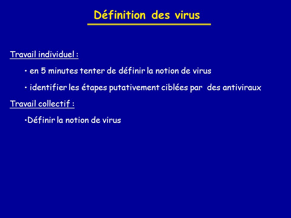 Définition des virus Travail individuel : • en 5 minutes tenter de définir la notion de virus • identifier les étapes putativement ciblées par des ant