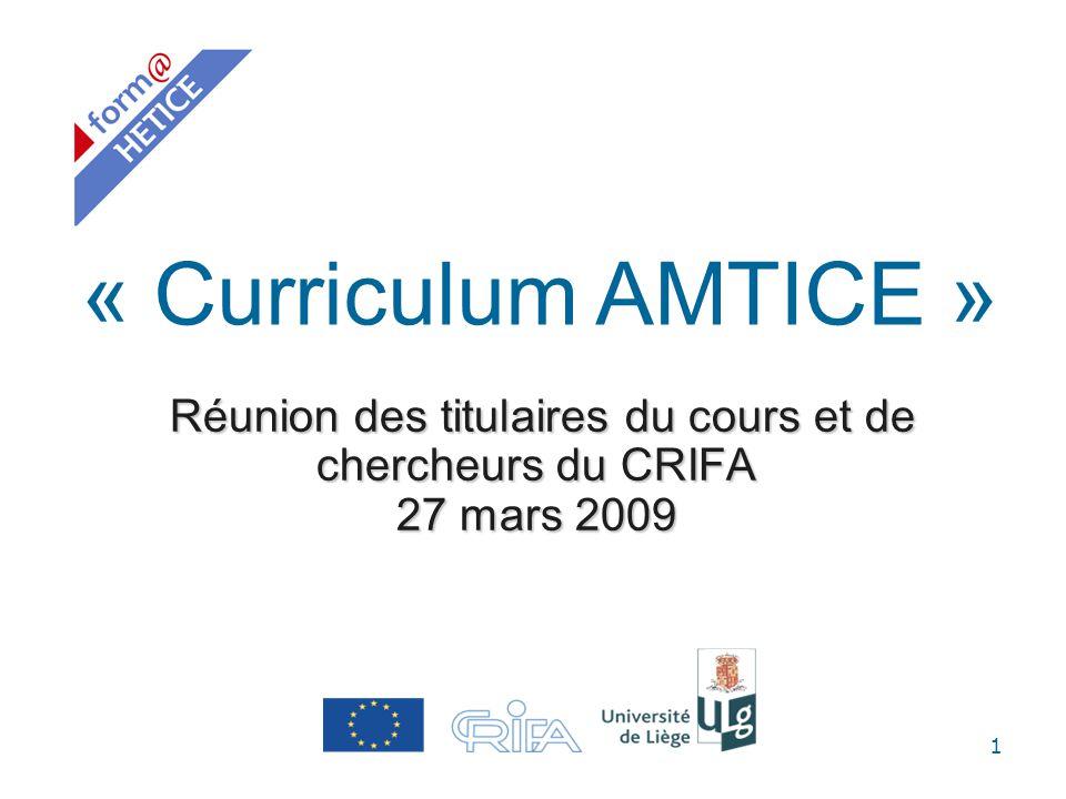 1 Réunion des titulaires du cours et de chercheurs du CRIFA 27 mars 2009 Réunion des titulaires du cours et de chercheurs du CRIFA 27 mars 2009 « Curr