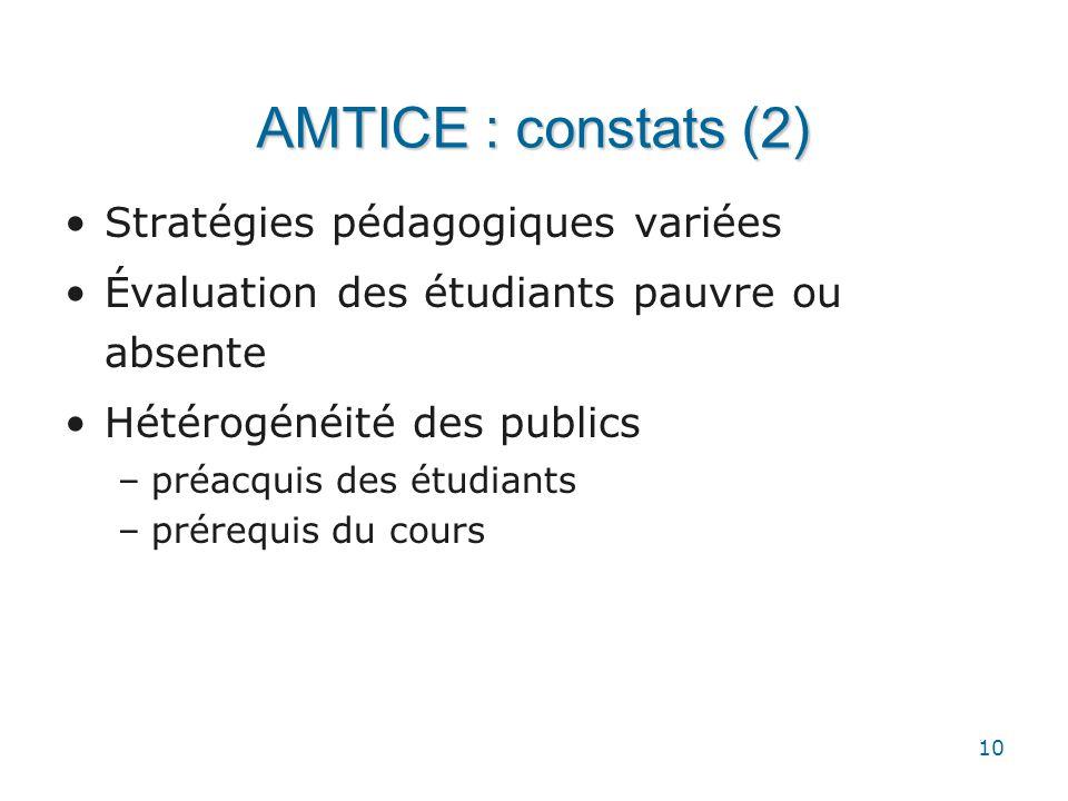 10 AMTICE : constats (2) •Stratégies pédagogiques variées •Évaluation des étudiants pauvre ou absente •Hétérogénéité des publics –préacquis des étudia
