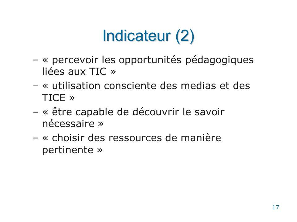 17 Indicateur (2) –« percevoir les opportunités pédagogiques liées aux TIC » –« utilisation consciente des medias et des TICE » –« être capable de déc