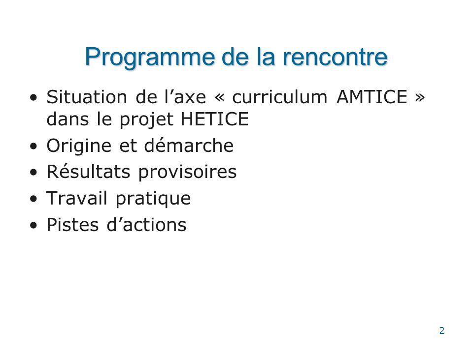 2 Programme de la rencontre •Situation de l'axe « curriculum AMTICE » dans le projet HETICE •Origine et démarche •Résultats provisoires •Travail prati