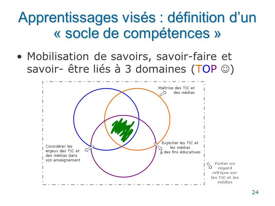 24 Apprentissages visés : définition d'un « socle de compétences » •Mobilisation de savoirs, savoir-faire et savoir- être liés à 3 domaines (TOP  )