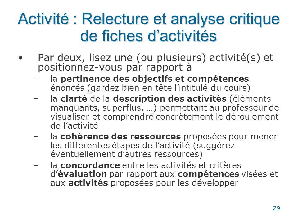 29 Activité : Relecture et analyse critique de fiches d'activités •Par deux, lisez une (ou plusieurs) activité(s) et positionnez-vous par rapport à –l