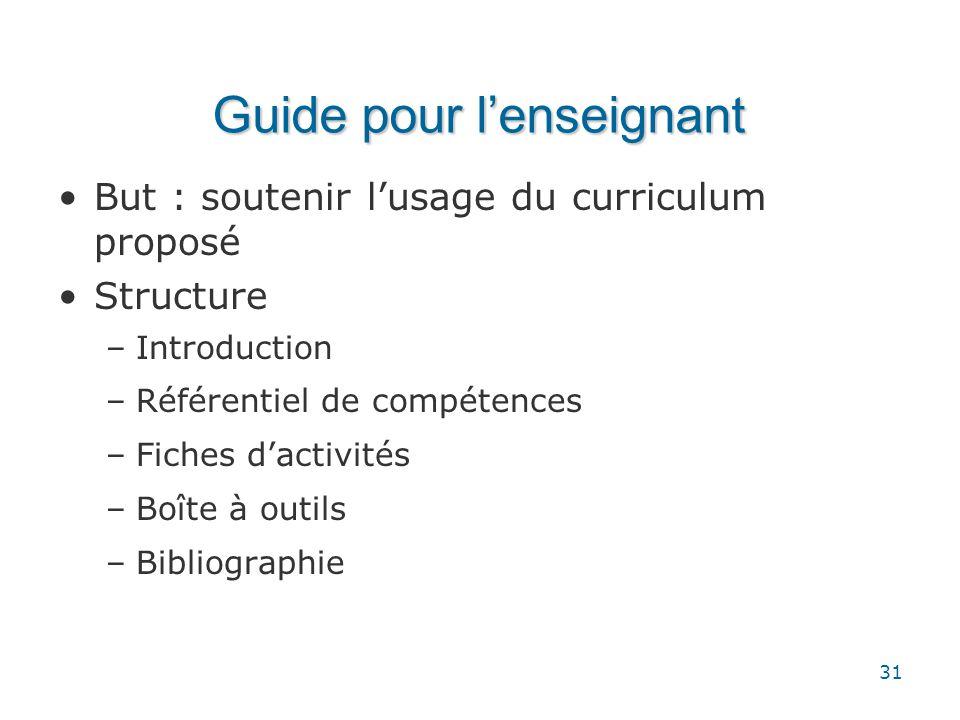 31 Guide pour l'enseignant •But : soutenir l'usage du curriculum proposé •Structure –Introduction –Référentiel de compétences –Fiches d'activités –Boî