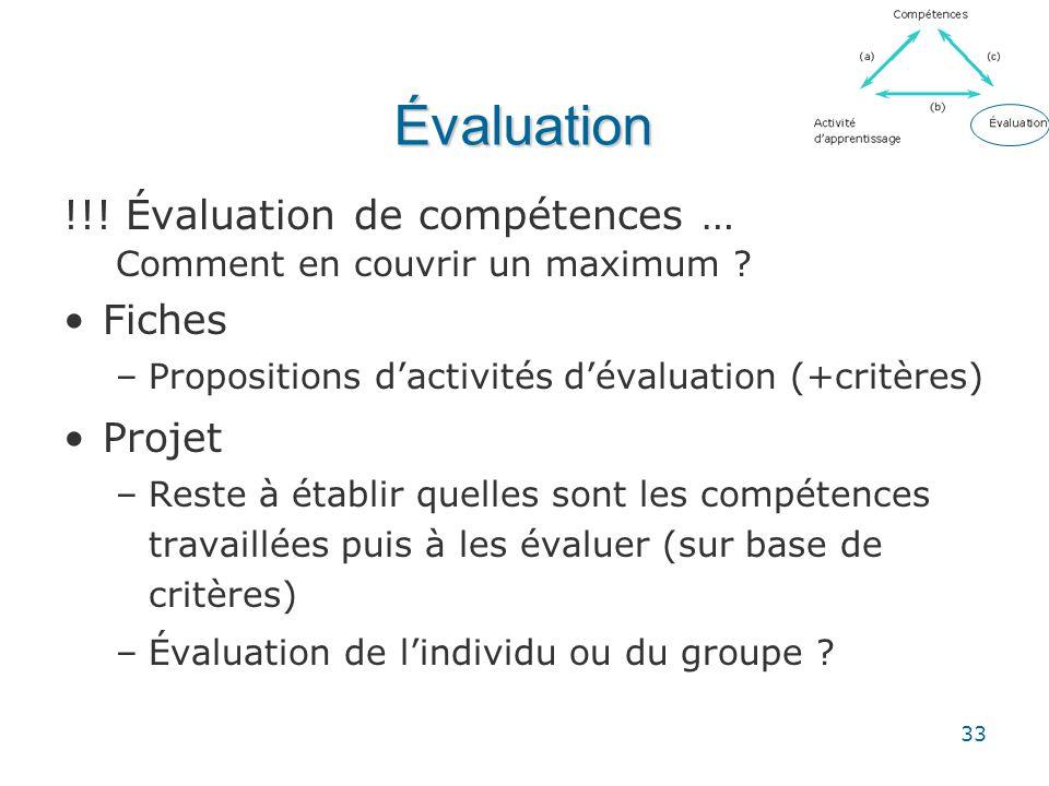 33 Évaluation !!! Évaluation de compétences … Comment en couvrir un maximum ? •Fiches –Propositions d'activités d'évaluation (+critères) •Projet –Rest