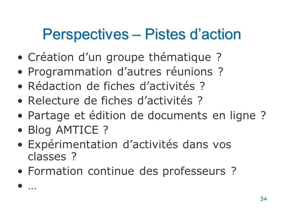 34 Perspectives – Pistes d'action •Création d'un groupe thématique ? •Programmation d'autres réunions ? •Rédaction de fiches d'activités ? •Relecture