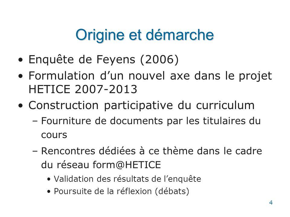 4 Origine et démarche •Enquête de Feyens (2006) •Formulation d'un nouvel axe dans le projet HETICE 2007-2013 •Construction participative du curriculum