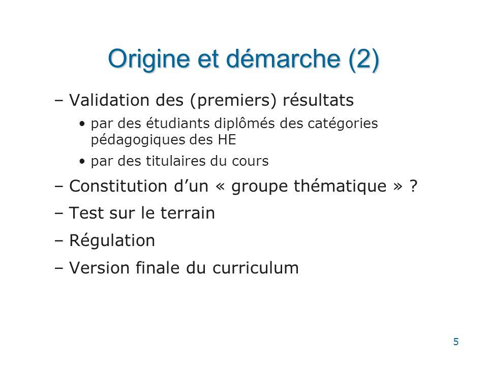 5 Origine et démarche (2) –Validation des (premiers) résultats •par des étudiants diplômés des catégories pédagogiques des HE •par des titulaires du c