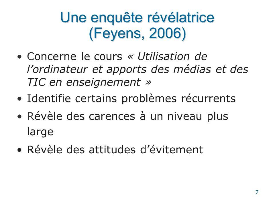 7 Une enquête révélatrice (Feyens, 2006) •Concerne le cours « Utilisation de l'ordinateur et apports des médias et des TIC en enseignement » •Identifi