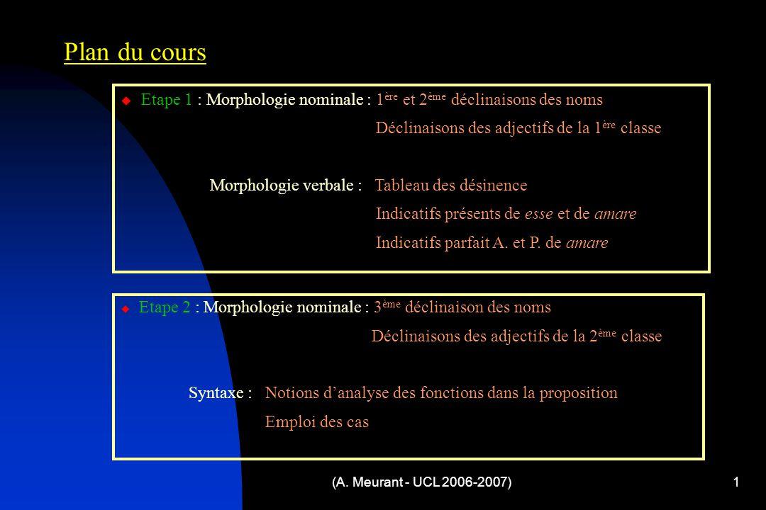 (A. Meurant - UCL 2006-2007)1 Plan du cours  Etape 1 : Morphologie nominale : 1 ère et 2 ème déclinaisons des noms Déclinaisons des adjectifs de la 1