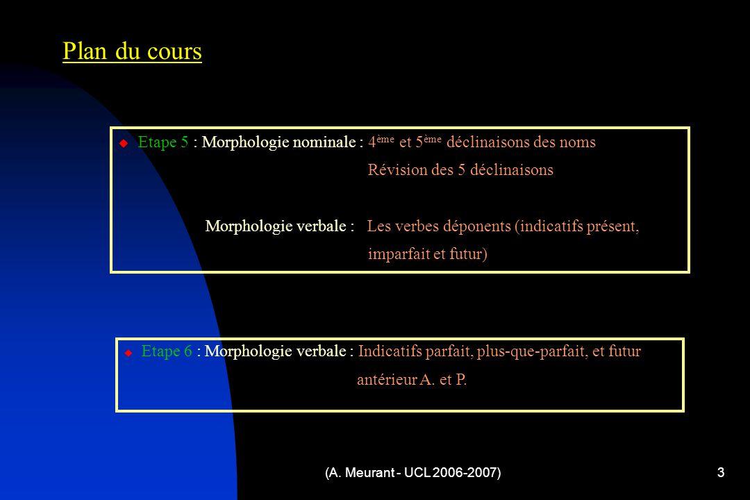 (A. Meurant - UCL 2006-2007)3 Plan du cours  Etape 5 : Morphologie nominale : 4 ème et 5 ème déclinaisons des noms Révision des 5 déclinaisons Morpho
