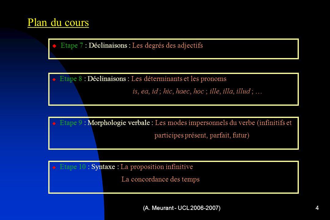 (A. Meurant - UCL 2006-2007)4 Plan du cours  Etape 7 : Déclinaisons : Les degrés des adjectifs  Etape 8 : Déclinaisons : Les déterminants et les pro