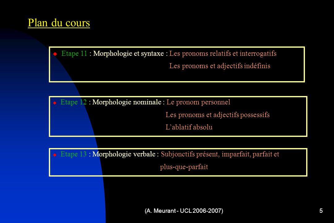 (A. Meurant - UCL 2006-2007)5 Plan du cours  Etape 11 : Morphologie et syntaxe : Les pronoms relatifs et interrogatifs Les pronoms et adjectifs indéf