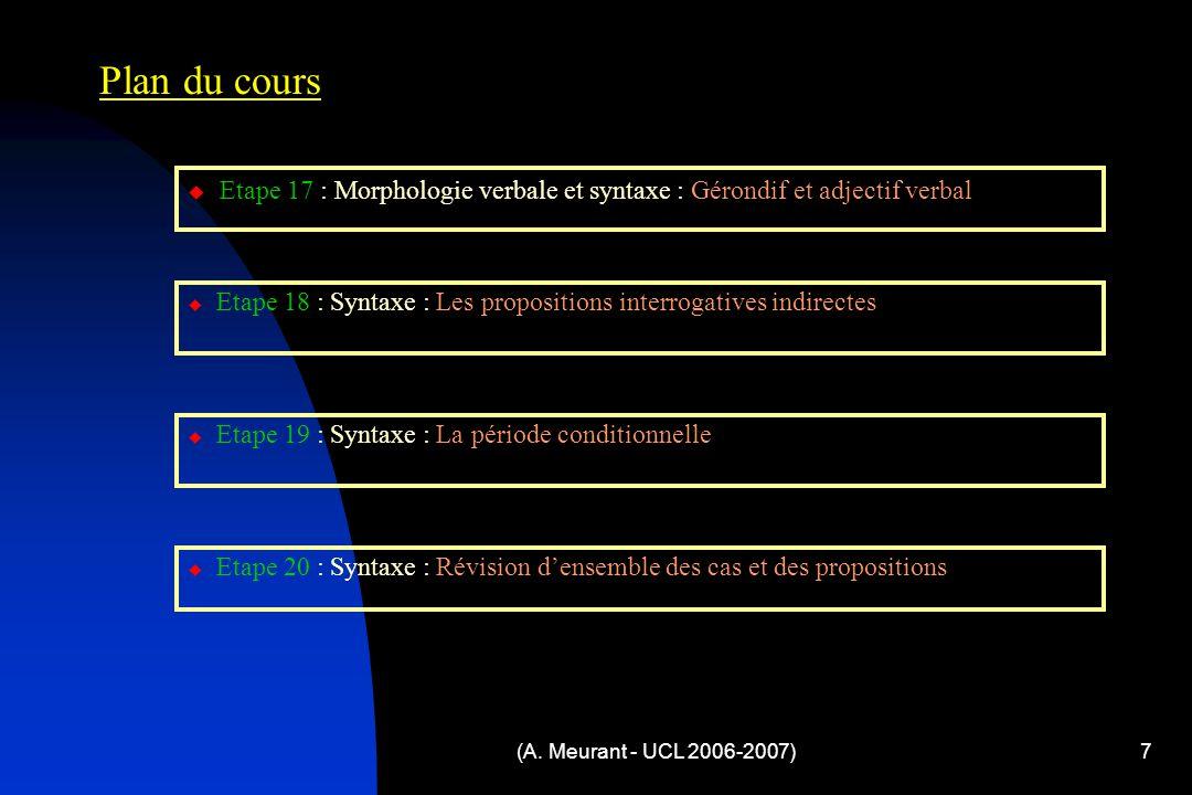 (A. Meurant - UCL 2006-2007)7 Plan du cours  Etape 17 : Morphologie verbale et syntaxe : Gérondif et adjectif verbal  Etape 18 : Syntaxe : Les propo
