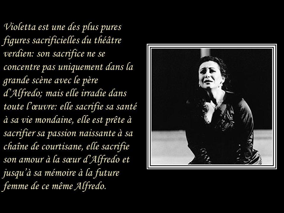 Il n'est pas besoin de détailler le sujet La Traviata, il suffit de rappeler que Violetta VALERY, courtisane et demi-mondaine, porte au jeune Alfredo