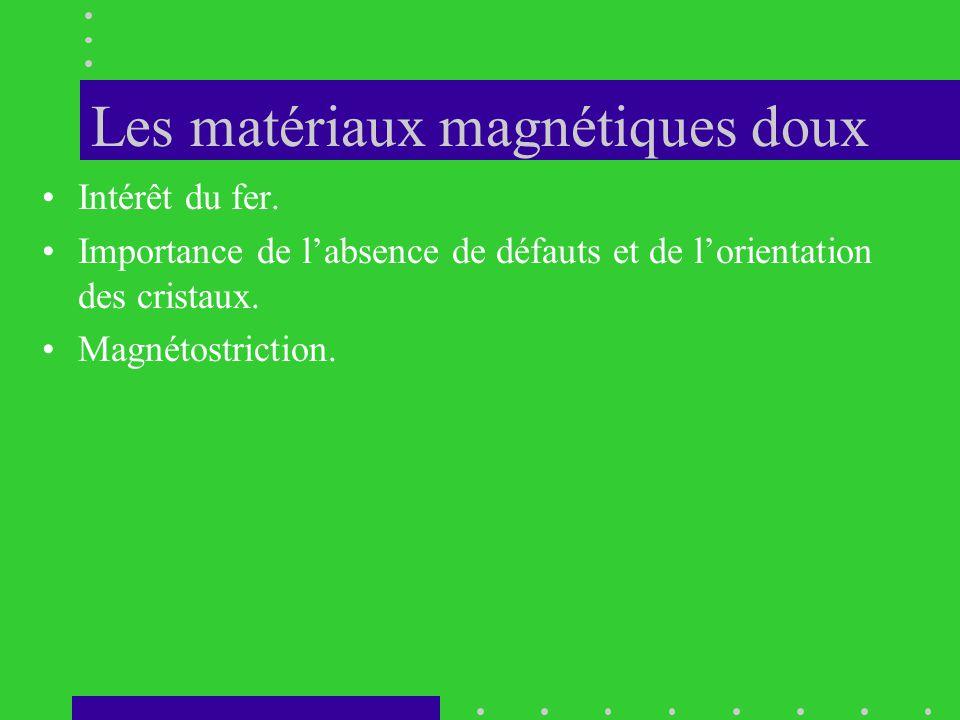 Les matériaux magnétiques doux •Intérêt du fer. •Importance de l'absence de défauts et de l'orientation des cristaux. •Magnétostriction.