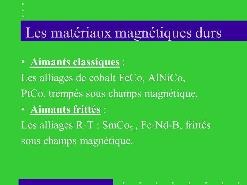 Les matériaux magnétiques durs •Aimants classiques : Les alliages de cobalt FeCo, AlNiCo, PtCo, trempés sous champs magnétique. •Aimants frittés : Les