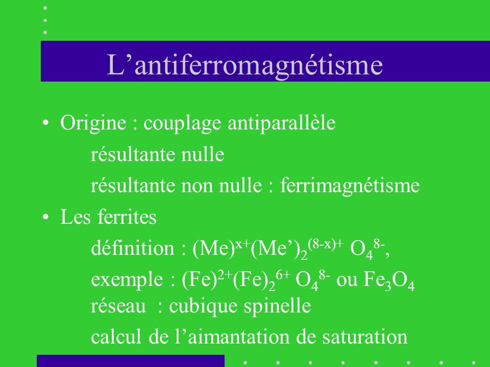 L'antiferromagnétisme •Origine : couplage antiparallèle résultante nulle résultante non nulle : ferrimagnétisme •Les ferrites définition : (Me) x+ (Me