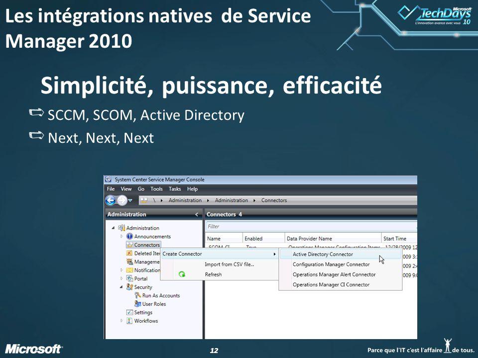 12 Simplicité, puissance, efficacité SCCM, SCOM, Active Directory Next, Next, Next Les intégrations natives de Service Manager 2010