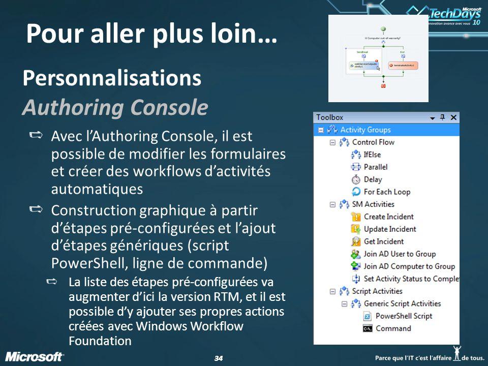 34 Personnalisations Authoring Console Avec l'Authoring Console, il est possible de modifier les formulaires et créer des workflows d'activités automatiques Construction graphique à partir d'étapes pré-configurées et l'ajout d'étapes génériques (script PowerShell, ligne de commande) La liste des étapes pré-configurées va augmenter d'ici la version RTM, et il est possible d'y ajouter ses propres actions créées avec Windows Workflow Foundation Pour aller plus loin…