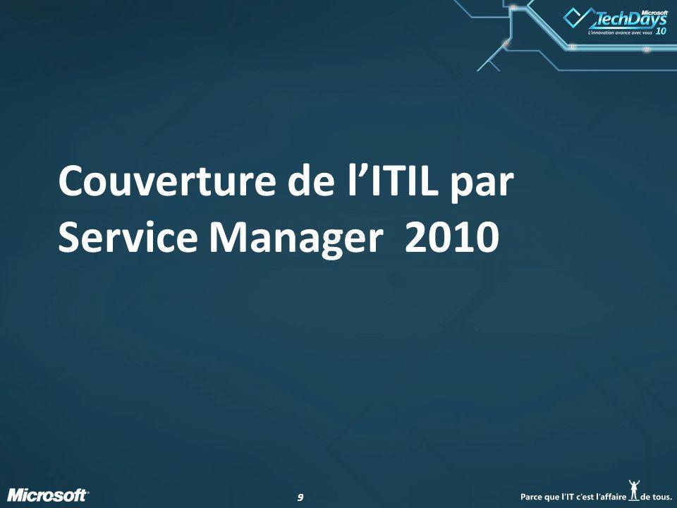 99 Couverture de l'ITIL par Service Manager 2010