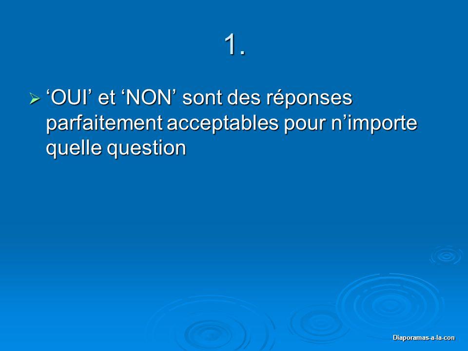 Diaporamas-a-la-con 1.  'OUI' et 'NON' sont des réponses parfaitement acceptables pour n'importe quelle question