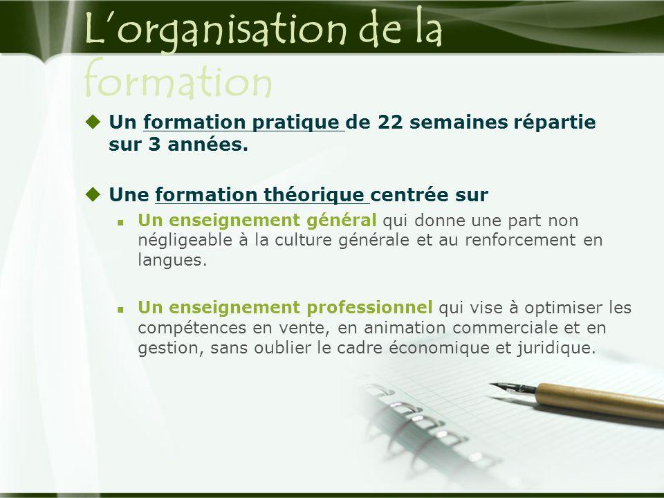 L'organisation de la formation  Un formation pratique de 22 semaines répartie sur 3 années.  Une formation théorique centrée sur  Un enseignement g