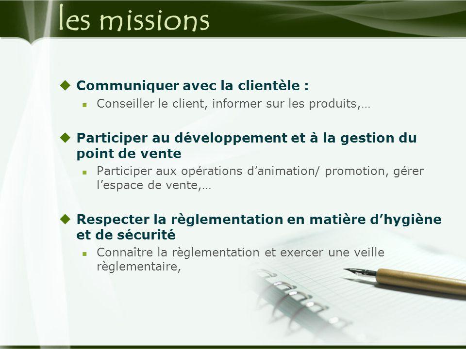 les missions  Communiquer avec la clientèle :  Conseiller le client, informer sur les produits,…  Participer au développement et à la gestion du po