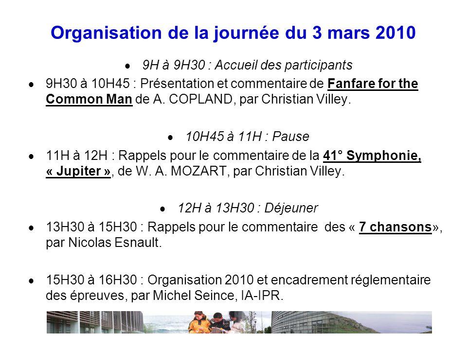 Organisation de la journée du 3 mars 2010  9H à 9H30 : Accueil des participants  9H30 à 10H45 : Présentation et commentaire de Fanfare for the Common Man de A.