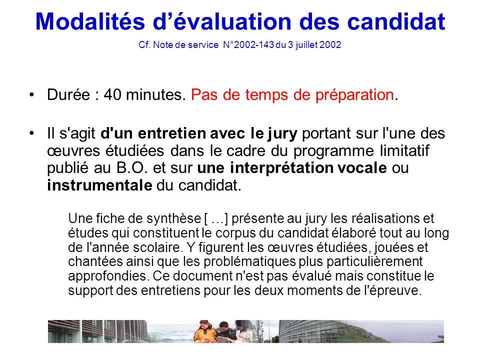 Modalités d'évaluation des candidat Cf.