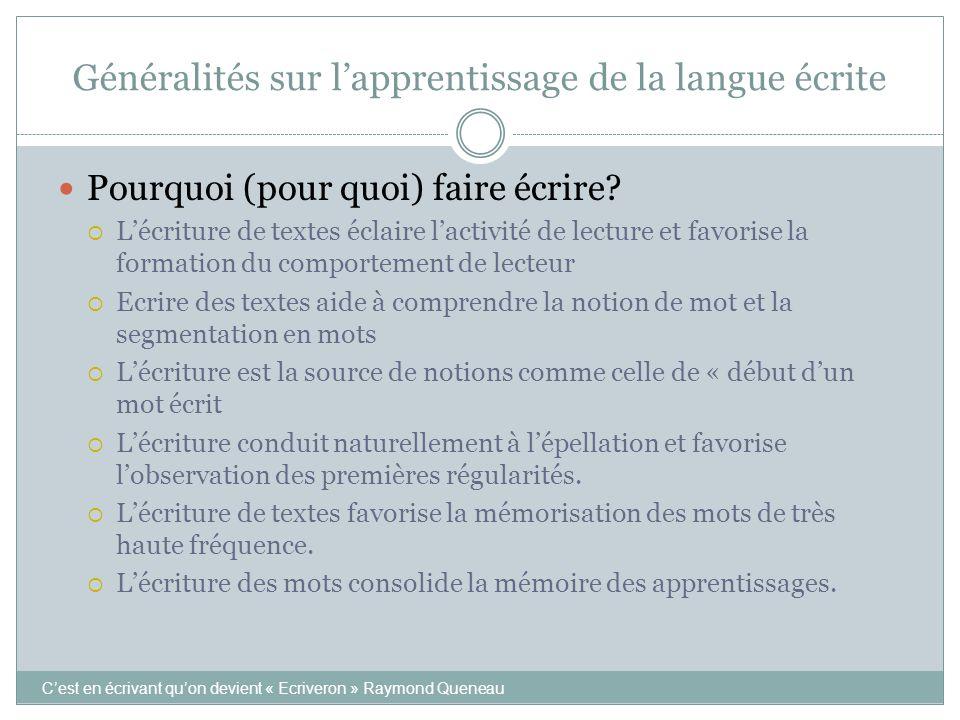 Généralités sur l'apprentissage de la langue écrite C'est en écrivant qu'on devient « Ecriveron » Raymond Queneau  Pourquoi (pour quoi) faire écrire?