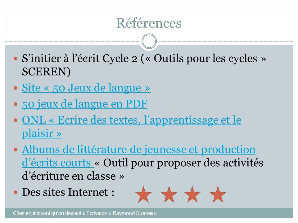 Références  S'initier à l'écrit Cycle 2 (« Outils pour les cycles » SCEREN)  Site « 50 Jeux de langue » Site « 50 Jeux de langue »  50 jeux de lang