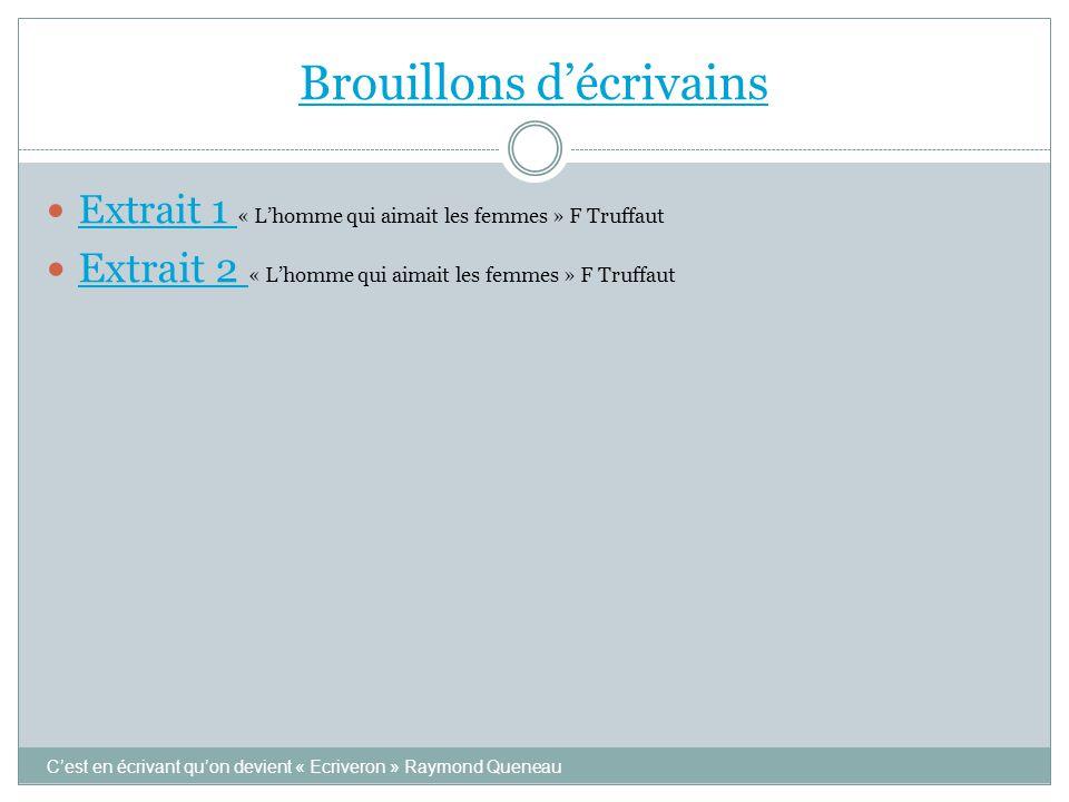 Brouillons d'écrivains C'est en écrivant qu'on devient « Ecriveron » Raymond Queneau  Extrait 1 « L'homme qui aimait les femmes » F Truffaut Extrait