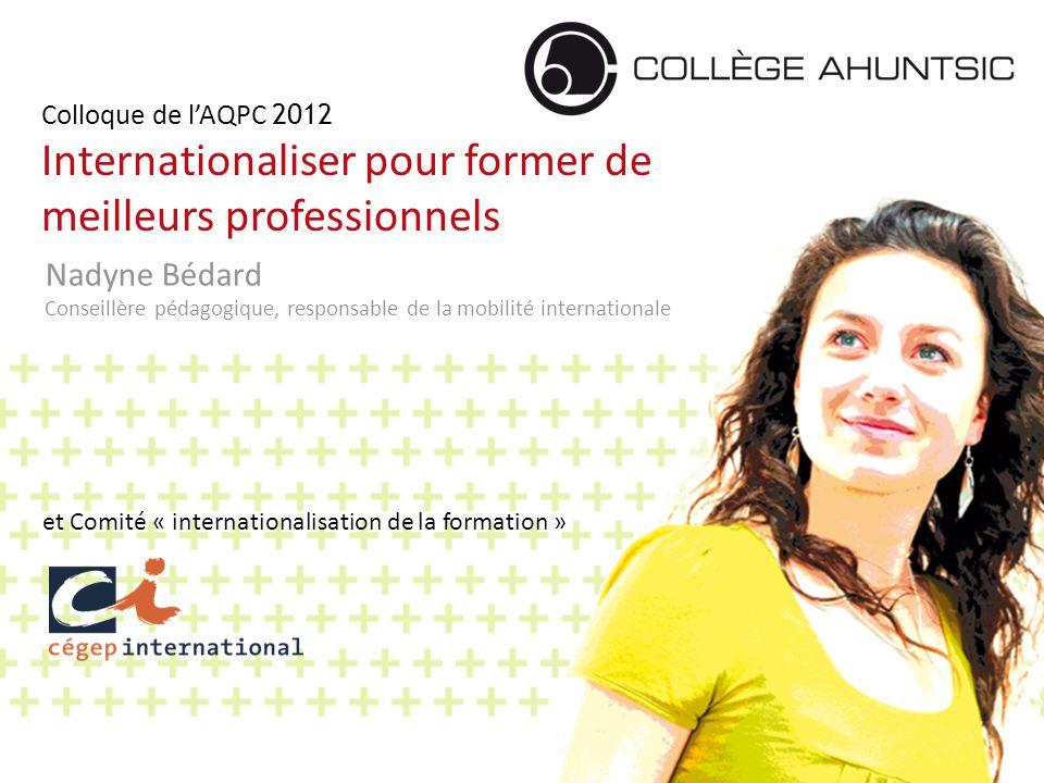 2014-06-181 Colloque de l'AQPC 2012 Internationaliser pour former de meilleurs professionnels Nadyne Bédard Conseillère pédagogique, responsable de la