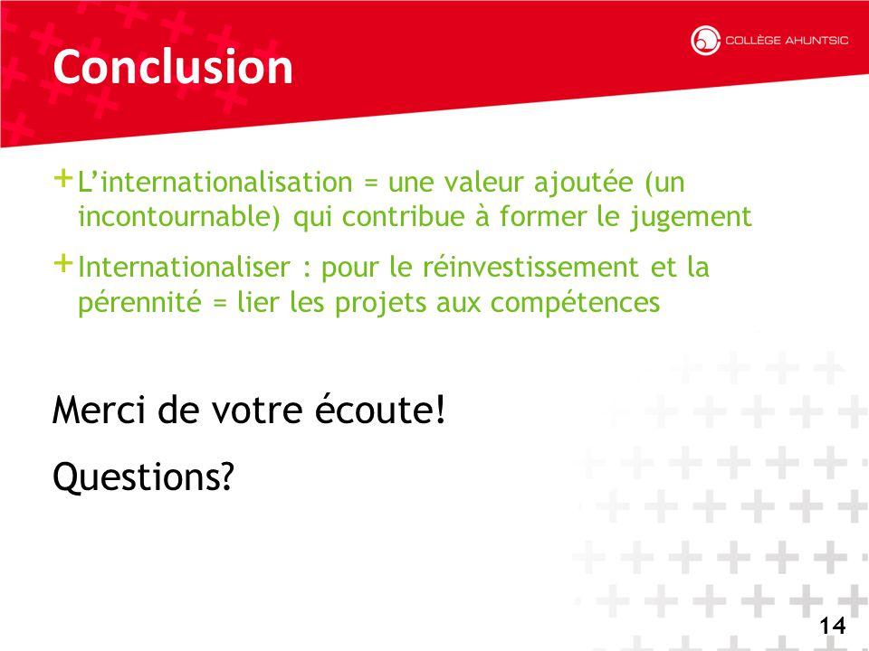 2014-06-1814 Conclusion + L'internationalisation = une valeur ajoutée (un incontournable) qui contribue à former le jugement + Internationaliser : pou