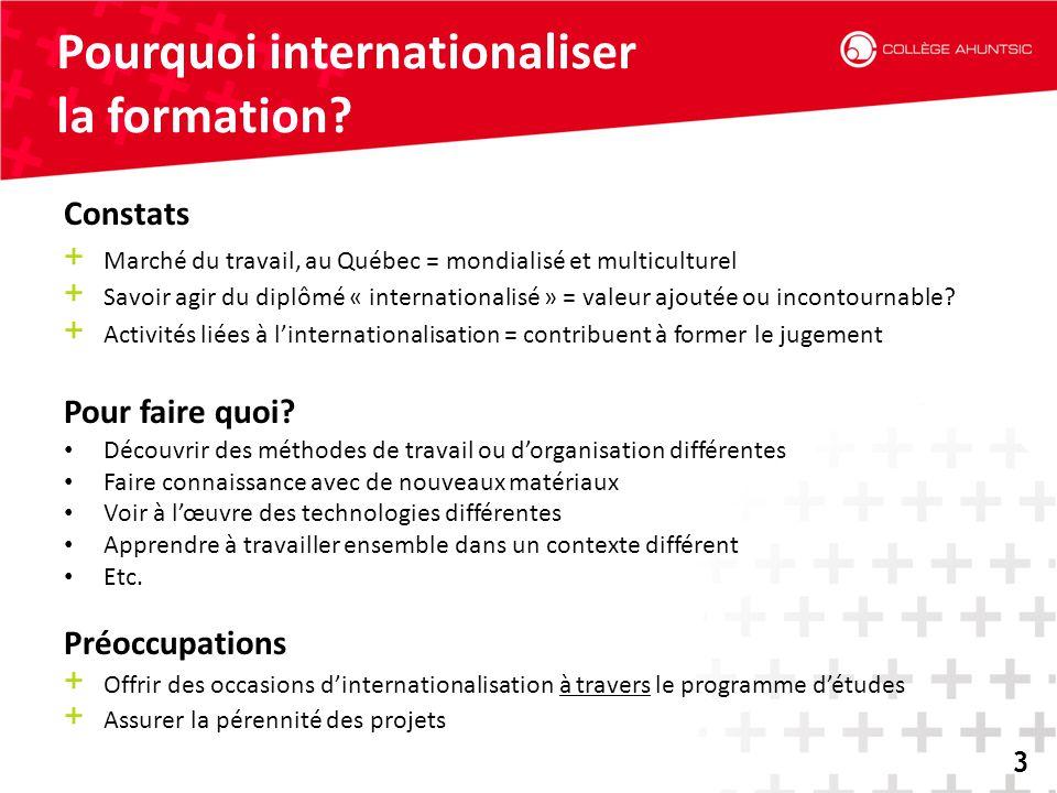 2014-06-183 Pourquoi internationaliser la formation? 3 Constats + Marché du travail, au Québec = mondialisé et multiculturel + Savoir agir du diplômé