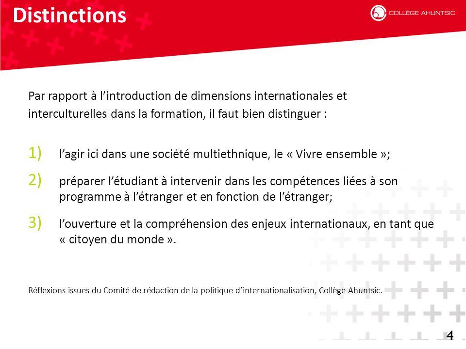 2014-06-184 Distinctions 4 Par rapport à l'introduction de dimensions internationales et interculturelles dans la formation, il faut bien distinguer :